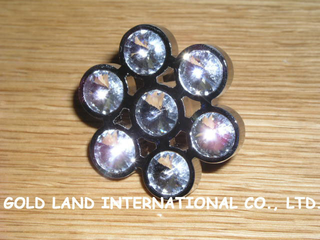 D42mm Free shipping K9 crystal glass flower furniture drawer knobs