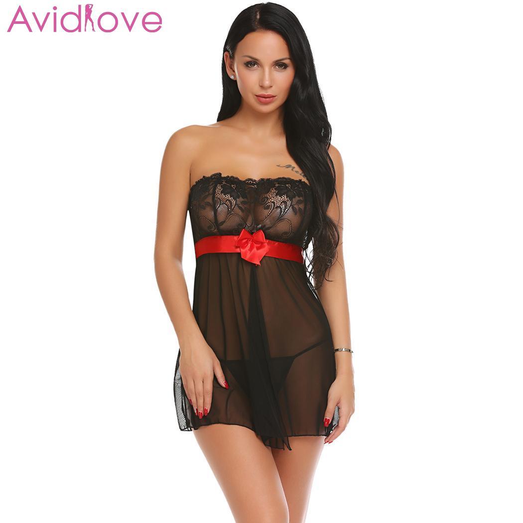 Avidlove Trajes de Noiva Das Mulheres Transparente Sexy Lingerie Babydoll  Strapless Babydoll e G-string Set lenceria erotica 9f45bde6b67