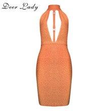 Deer Lady Bandage Dress Rayon 2017 Summer Knee Length Dress Women Backless Halter Dress For Clubwear Bandage Dress Orange HL