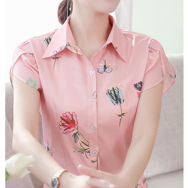 Korean Fashion Chiffon Women Blouses Print Turn-down Collar Pink Women Shirts Plus Size XXXL/5XL Blusas Femininas Elegante