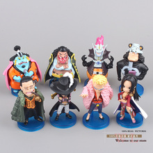 Anime One Piece Boa Hankokku Mihawk Doflamingo Kuma Teach Jinbe Mini PVC Action Figures Collection Model Toys 8pcs/set OPFG306
