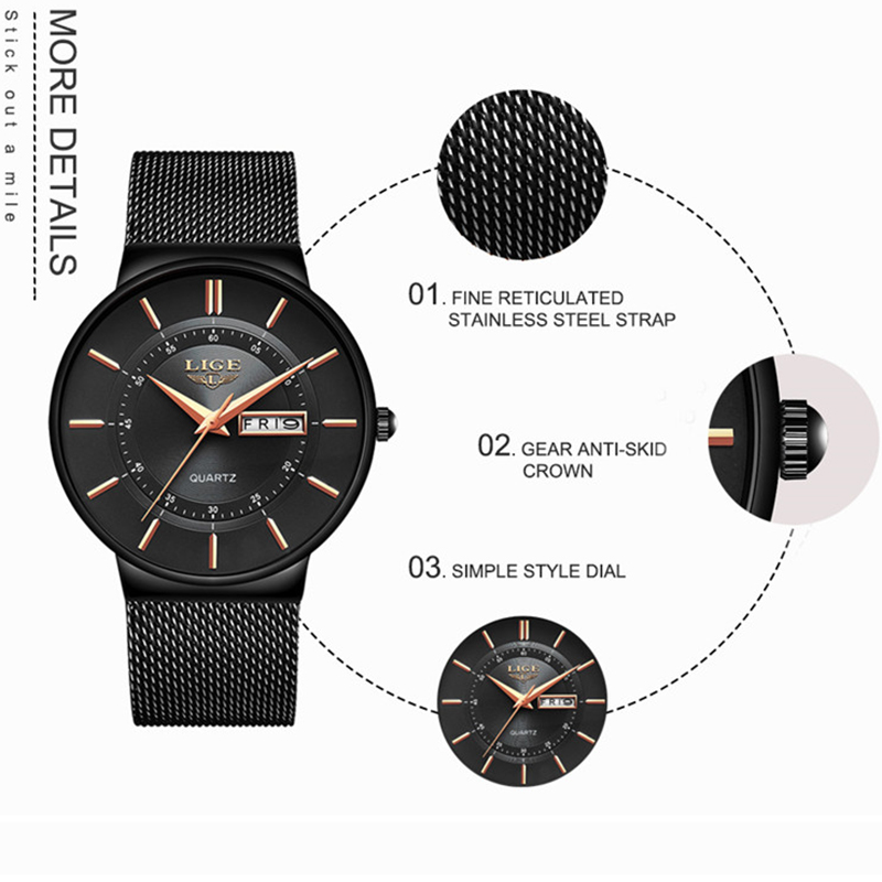 Image 5 - Mens Watches LIGE Top Brand Luxury Waterproof Ultra Thin Date Clock Male Steel Strap Casual Quartz Watch Men Sports Wrist Watch-in Quartz Watches from Watches