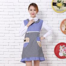 2017 neue Koreanische Baumwolle Schürze Gitter Herzform Taschen Sleeveless Schürzen Erwachsene Mode Küchenschürze Keukenschort Avental