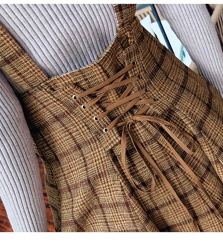 Japan Mori Girl Sundress Autumn Korean Fashion Women Sleeveless Vest Brown Plaid Woolen Winter Dresses Spaghetti Strap Vestidos 18