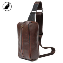 ETONWEAG New 2016 men famous brands cow leather brown zipper multi-functional fashion waist packs luxury organizer chest bags