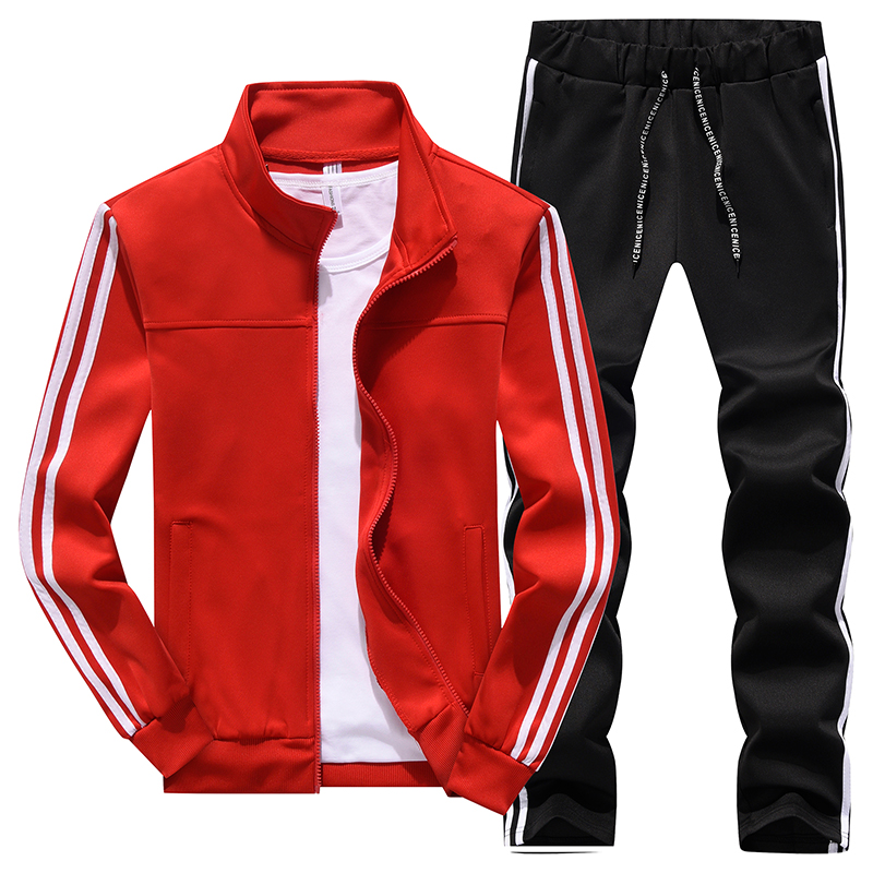 Hommes décontracté és printemps survêtement mâle sweat à manches longues pantalon lettre vêtements de sport décontractés costumes hommes ensemble veste patchwork - 2