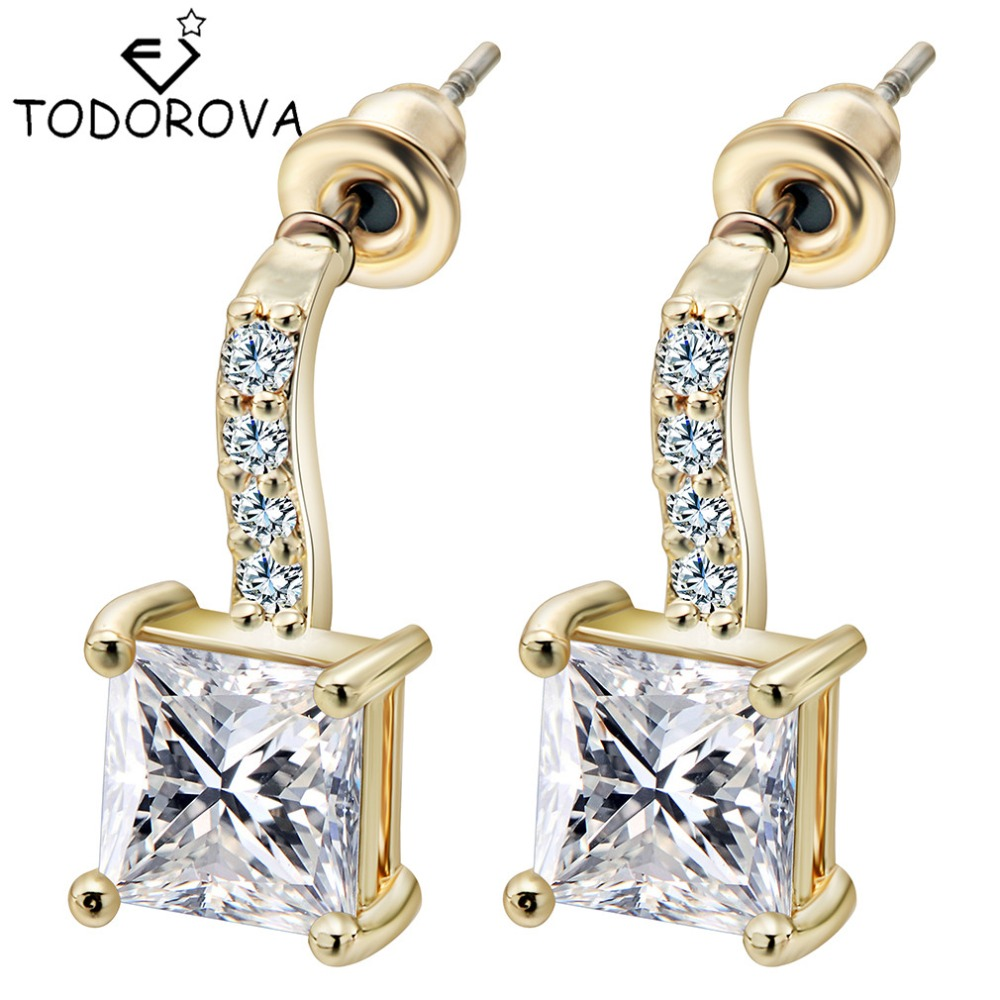 Todorova Luxury Square Clear Cubic Zircon Stud Earrings Small Paved Brilliant AAA Austrian CZ for Women Trendy Gift