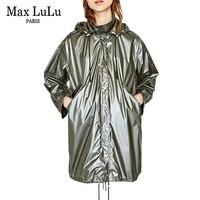 Max LuLu 2017 Sonbahar Ordu Yeşil Yağmur Ropa De Mujer Su Geçirmez Kadın Uzun Trençkotlar Rahat Fermuar Duster Hırka Rüzgarlık