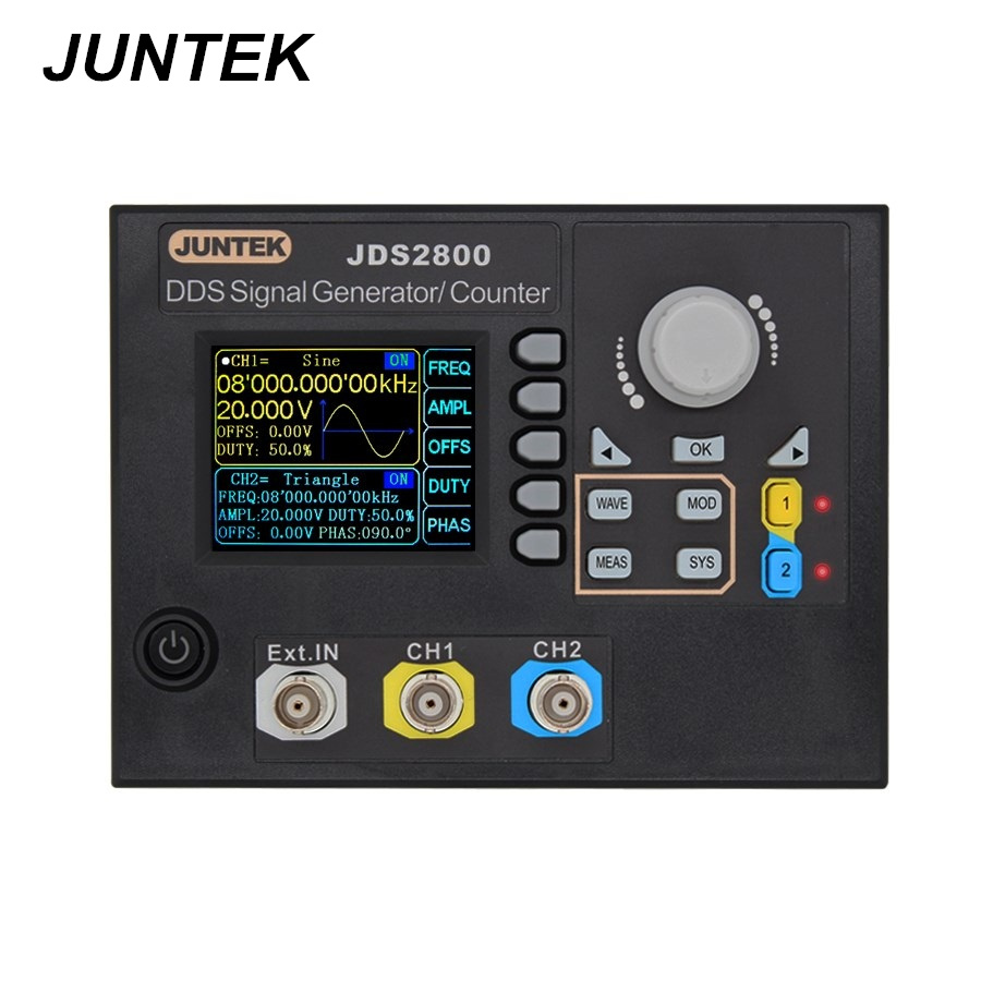 JUNTEK JDS2800-60M 60MHZ Signal Generator Digital Control Dual-channel DDS Function Signal Generator frequency meter 40%Off цены