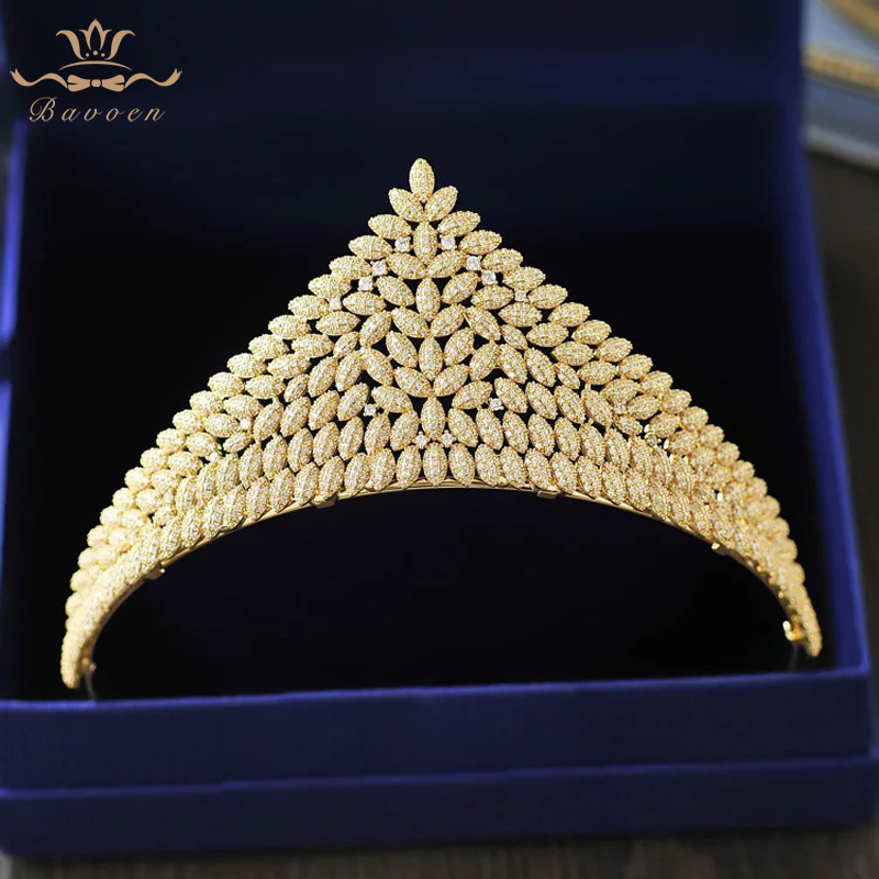 все цены на Bavoen High Quality Gold/Silver Wedding Hair Accessory Brides Zircon Crystal Tiara Hairbands Evening Hair Accessories онлайн