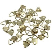 20Pcs Universal Strong Golden D Rings Decor Picture Frames Hanger Hooks Hanging Triangle Screws Helper