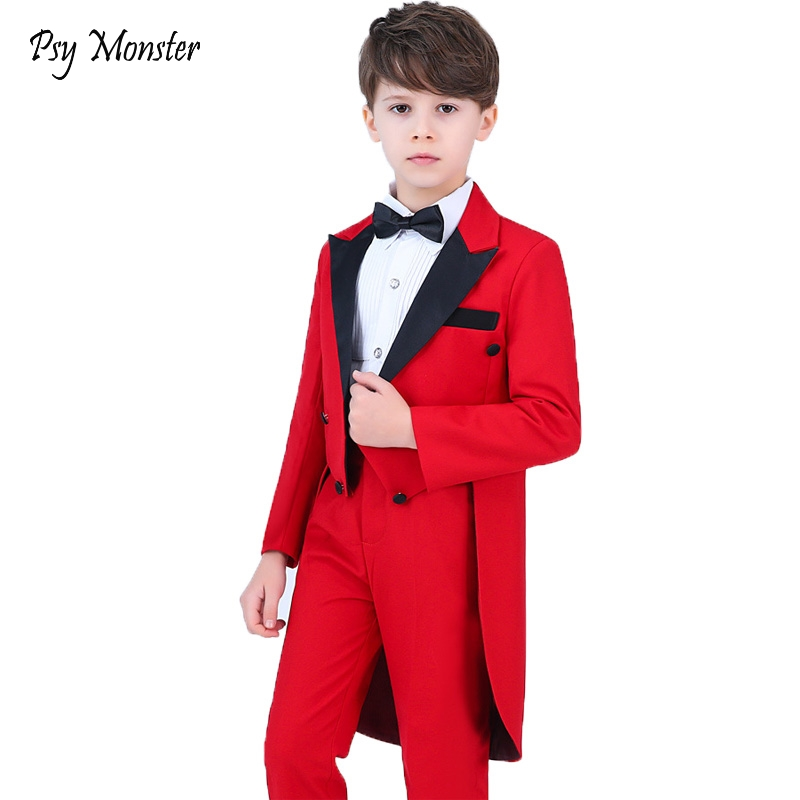 Boys Formal Dress Tuxedo Piano Performance Costume Flower Boys Birthday Wedding Suits 5pcs Jacket + Shirt + Pant + Tie 4Pcs