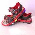 Sandalias de los muchachos 2017 nueva primavera verano spider-man zapatos sandalias de playa niño Niños Deporte Marca Luz Zapatos de Niños tamaño 20-31