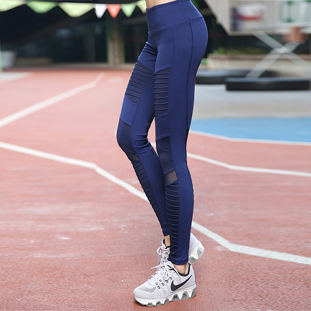 Womens Pleated Mesh Compression Trousers Sports Leggings