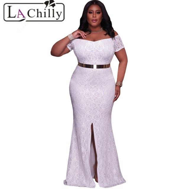 Online Shop La Chilly Robe Longue White Pink Plus Size Dresses Off