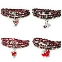 4mm 28 29inch AAA Garnet Beads Bracelet Stainless Steel Jewelry Finding Beads Braclets For Women Gift Girl