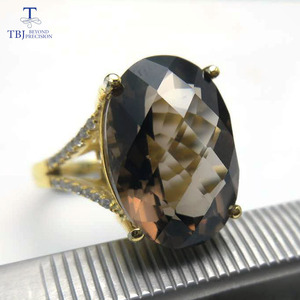 Image 4 - TBJ,Big 11ct smoky gemstone ring  in yellow gold color 925 sterling silver gemstone jewelry for girls with gift box
