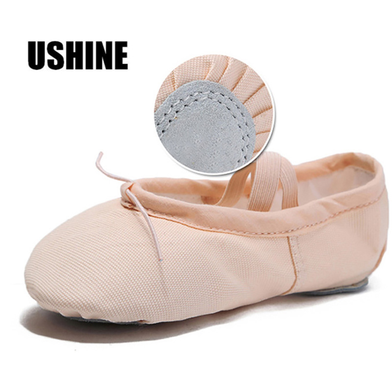 USHINE Yoga Slippers Gym Teacher Yoga Ballet Dance Shoes For Girls Woman Canvas Ballet Shoes Kids Children