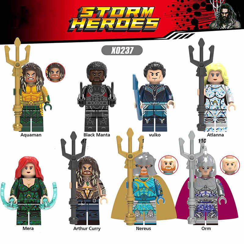LegoINGlys Moives Black Manta Volkoe Aquaman Minifigure Building Blocks Super Heroes Figuras de Ação Brinquedos Para As Crianças Presentes