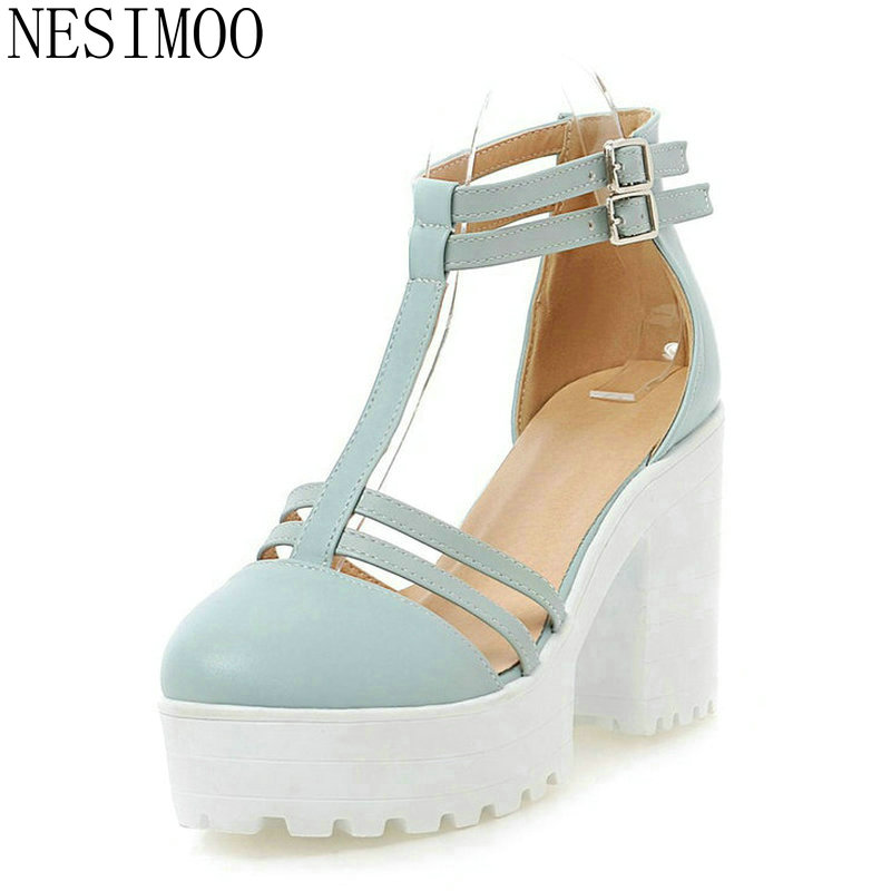 NESIMOO 2018 Size 34-43 T-strap Ladies Summer Shoes Square High Heel PU 53049caa4de1