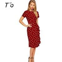 T'O 2016 Elegante Do Vintage Polka Dot Túnica Babado Magro Tamanho Grande Profissional vestido de Trabalho de Escritório de Negócios Bainha Bodycon Vestido 135