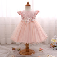 New Baby Girls Flower Dresses Newborn Baby Clothes Lace Pink Party Dress Bapteme Princess Ball Gown