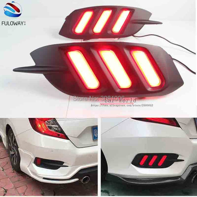 For Honda Civic 10th 2016 2017 LED Tail Light Assembly Brake DRL Daytime  Running Lights Multi