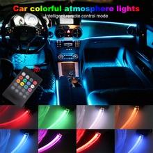 Атмосферные огни 8 цветов атмосфера лампа загорается 4 метров Установите оптические волоконная полоса поворота звук музыки интерьер автомобиля декоративный свет