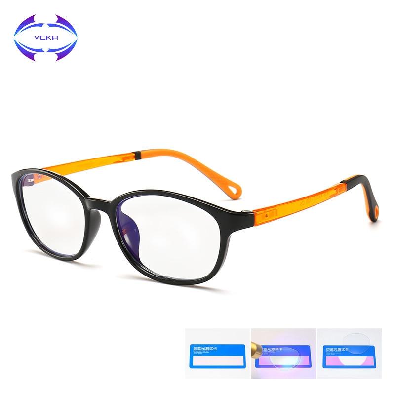 VCKA Children Anti-blue light Glasses Frame Girl Game Protective Goggle  Kids TR90 Silicone Boy Computer Ultralight Eyeglass