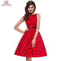 Grace Karin 2XL 3XL Plus Size Vintage Rockabilly Dresses 2016 Women Red Audrey Hepburn Dress Summer