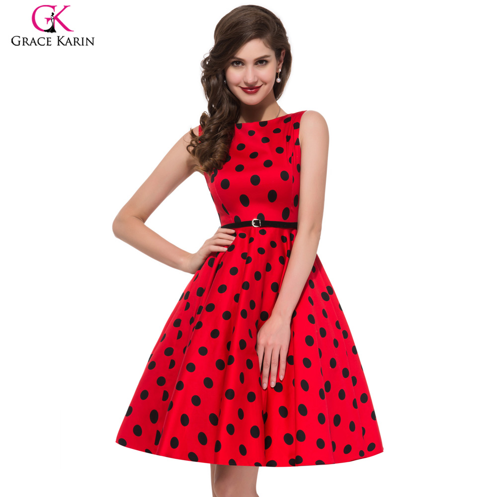 Polka Dot Dress Plus Size Summer Autumn Vintage 50s Dresses Women Red Audrey Hepburn Floral Print Party Vestido De Festa 3XL