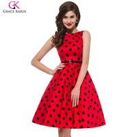 Grace Karin 2XL 3XL Plus Size Vintage Rockabilly Dresses 2016 Women Red Audrey Hepburn Dress Summer