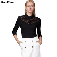 2016 New Women Body Shirt Blouses Slim Fit Turn Down Collar Fashion Lace Patchwork Design Three