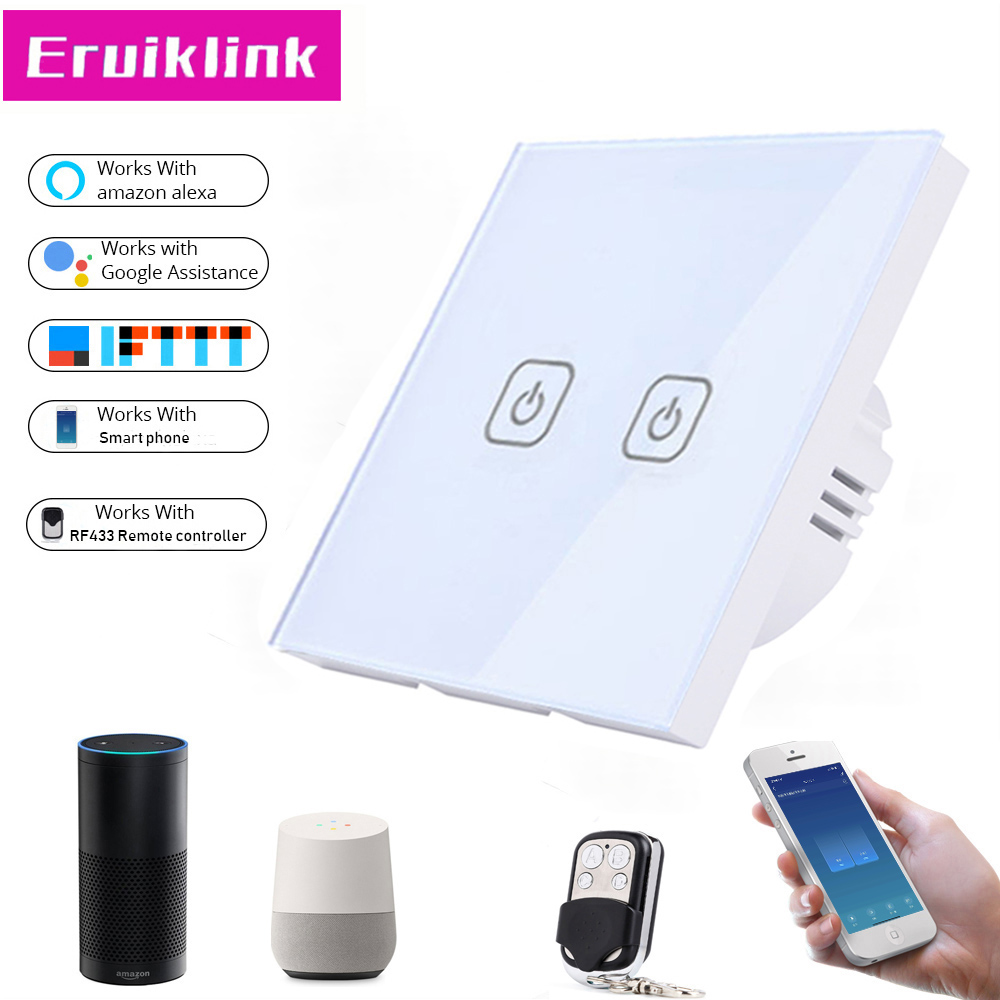 EU/UK Standard 1/2/3 Gang 1 Way Tuya APP/Wifi Touch Switch,Crystal Glass Panel Smart Home RF433 Remote Control Wall Touch Switch