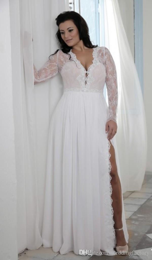 Plus Size Wedding Dresses with Split Plunging V Neck ...