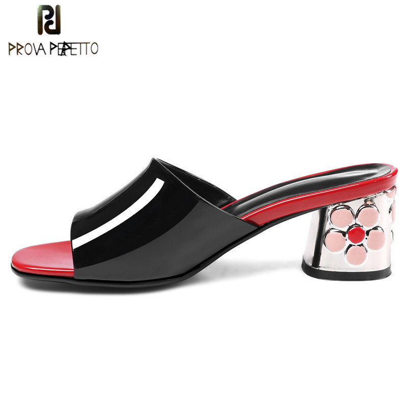 Prova Perfetto New Style Women Slippers Fashion Flower Heel Shoes Woman High Heels Sandals Women Real
