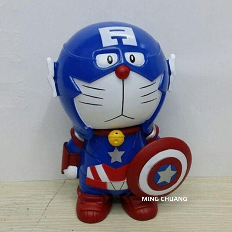 Avengers Infinity War Superhero Captain America Doraemon Iron Man Thor Saving Box PVC Action Figure Collectible Model Toy D123