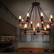 Lámpara de luz colgante Circular anular antigua vintage retro de cáñamo cable cuerda de alambre LOFT para comedor habitación vestíbulo restaurante café