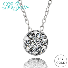 L& zuan Подлинная 18 К Золотая подвеска с натуральными 0.16ct бриллиантами круглое ожерелье с 925 пробы серебряной цепочкой хорошее ювелирное изделие подарок
