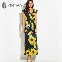 Vintacy Women Large Size Yellow Sunflower Floral A Line Ankle Length Boho Party Dresses V Neck