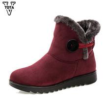 VTOTA Brand Winter Boots Women Snow Boots Fur Comfortable Ankle Women Boots Fashion Buckle Platform Short Booties Botas OH2 women s genuine leather platform flats ankle boots brand designer comfortable winter cold weather short booties shoes for women