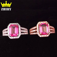 Gem Ring Real 925 Sterling Silver 100 Natural Pink Topaz Oriental Rings Gemstone Platinum Plated Synthetic