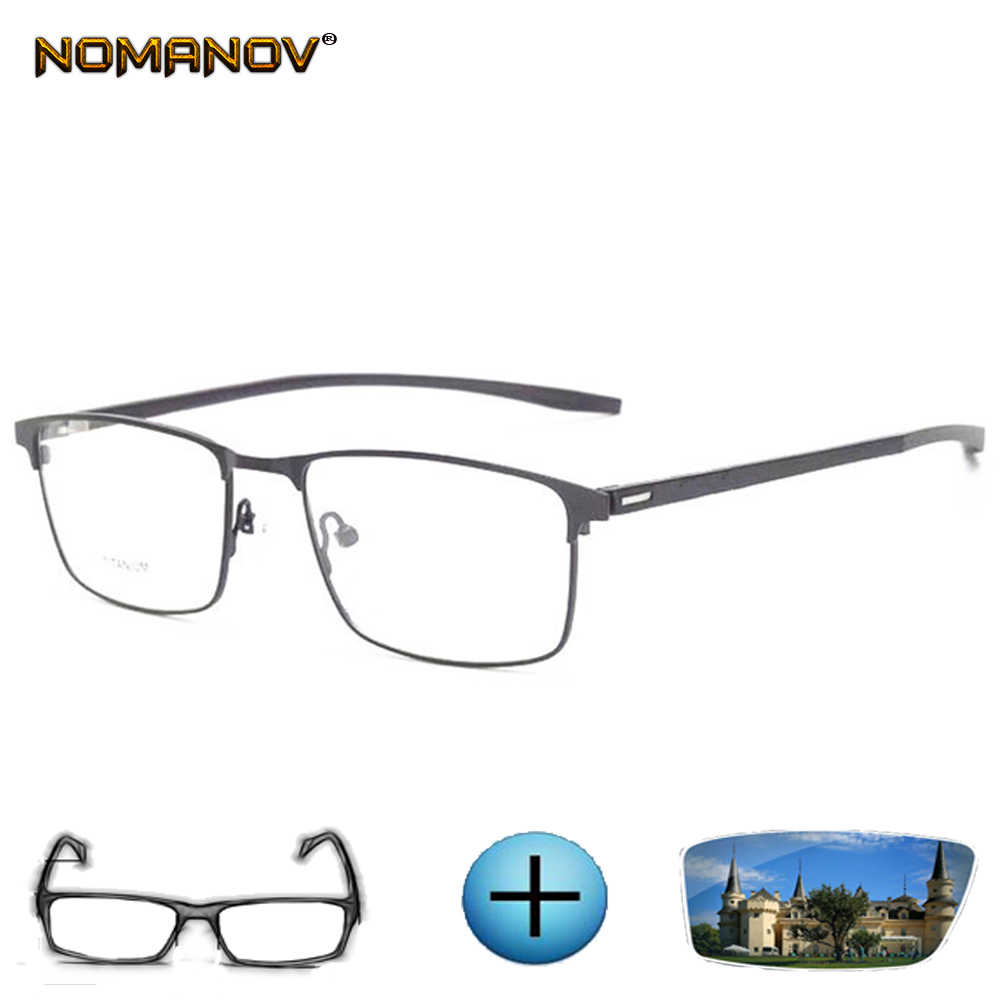 Titanium Alloy Wide Face Ultra Light Big Frame Men Custom Made Prescription Glasses Photochromic Grey/Brown Myopia Near-sighted