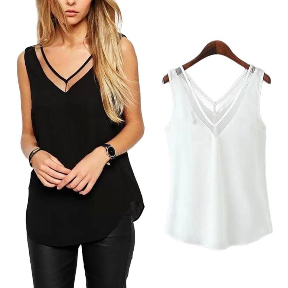 Sleeveless women's sleeveless v neck net gauze lady's