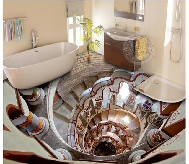 Charmant 3d Photo Wallpaper Custom Mural Pvc WallpaperSuper Cool Stereo To Stick 3D  Bathroom Floor Painting