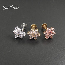 SaYao 1 piece 6mm Length 16G Lip Ring Labret Earring Nail Bone Barbell Zircon Rose Flower Helix Tragus Ear Piercing Body Jewelry(China)