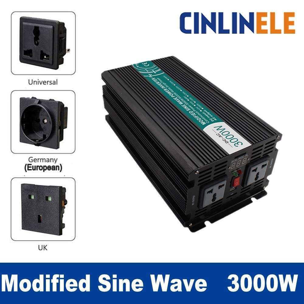 Smart Modified Sine Wave Inverter 3000W CLP3000A DC 12V 24V to AC 110V 220V Smart Series Solar Power 3000W Surge Power 6000W