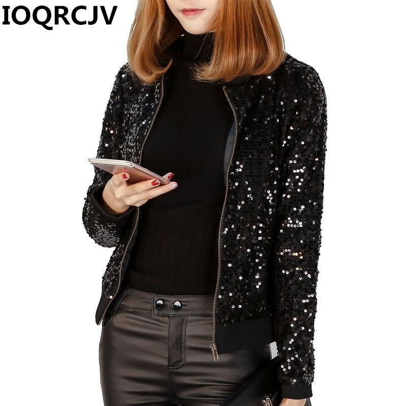 2019 New Fashion Windbreaker   Jacket   Women Sequin Coats Long Sleeve Casual   Basic     Jackets   Black Bomber   Jacket   Female Outwear R897