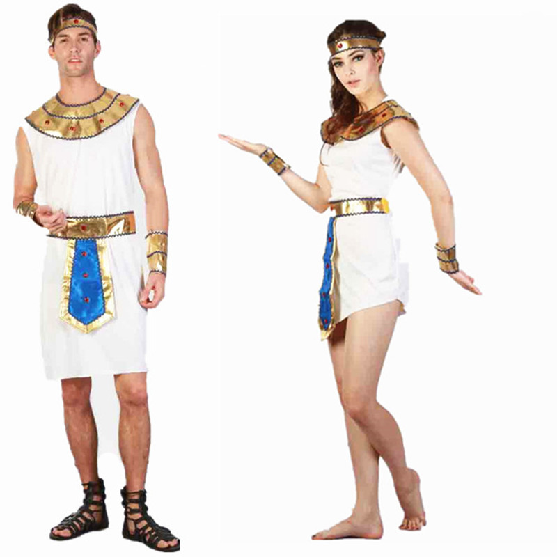 Halloween Exotic Cool Adult Men White Egyptian Prince Women Dress Cosplay Couples Costumes Stage Performance Masquerade Party