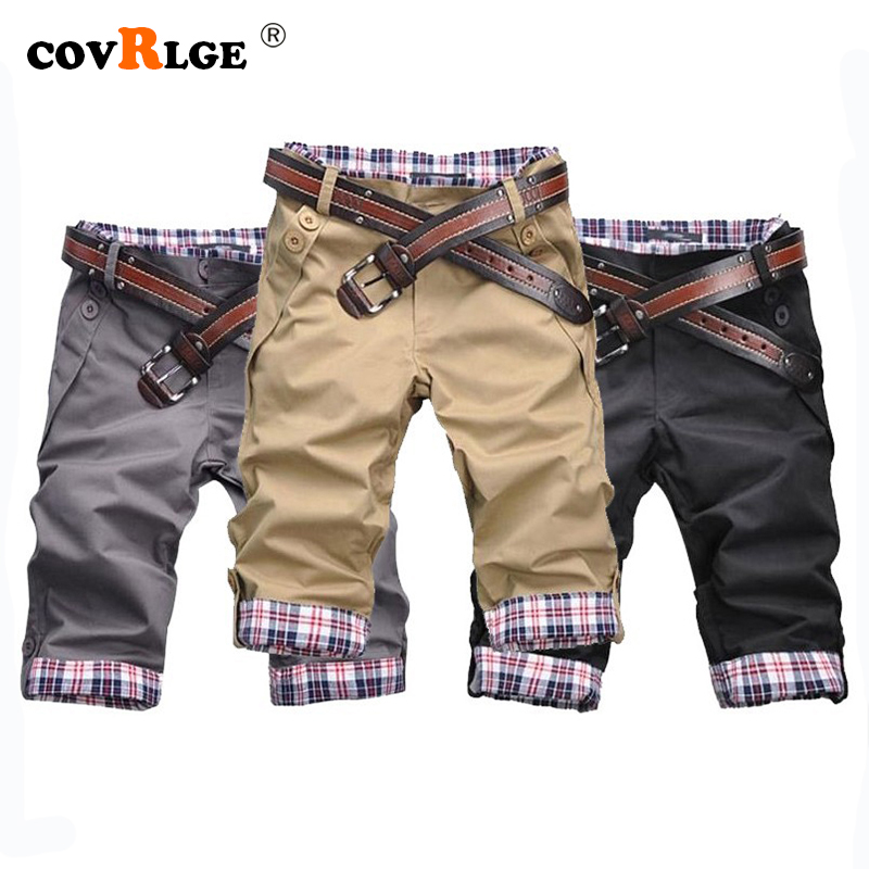 Covrlge Casual Shorts Men 2019 Summer Short Pants Candy Color Beige Shorts High Quality Beach Shorts Plus Size 2XL MKD031